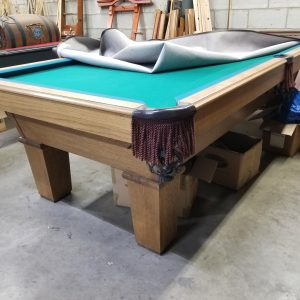 8 ft pool table with leather drop pockets